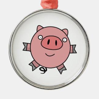 Happy Jumping Pig Metal Ornament