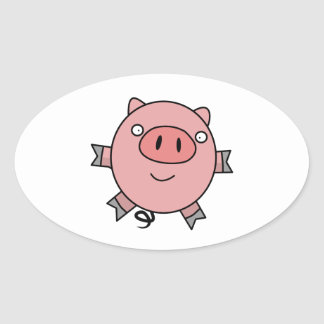 Happy Jumping Pig Oval Sticker