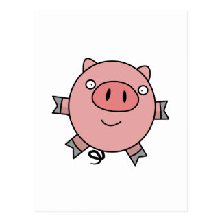 Happy Jumping Pig Postcard
