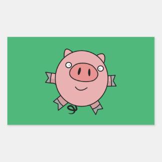 Happy Jumping Pig Rectangular Sticker