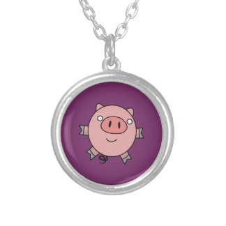 Happy Jumping Pig Round Pendant Necklace