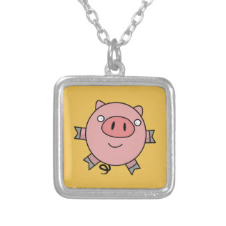 Happy Jumping Pig Square Pendant Necklace