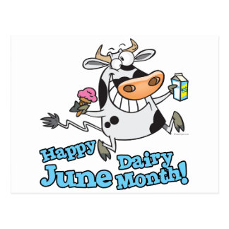 happy june dairy month funny cartoon cow postcard