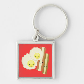happy kawaii  breakfast Silver-Colored square keychain