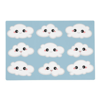 Happy Kawaii Cute and Smiling Clouds Placemat