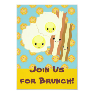 happy kawaii  eggs bacon brunch breakfast card