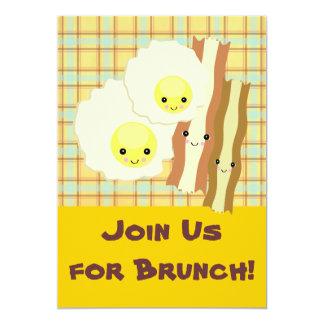 happy kawaii  eggs bacon brunch breakfast card