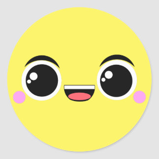 Happy Kawaii Face Classic Round Sticker