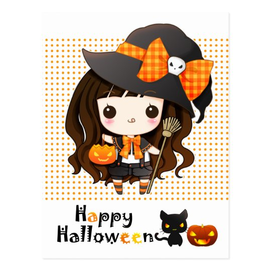 Happy Kawaii Halloween Postcard