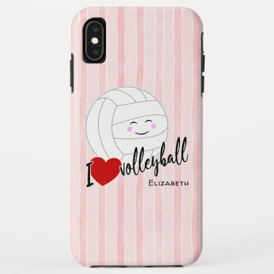 happy kawaii I love volleyball heart pink stripes iPhone XS Max Case