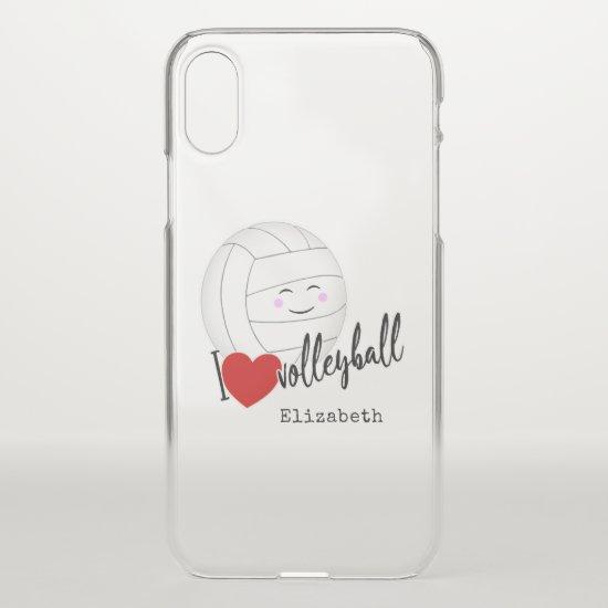 "happy kawaii ""I love volleyball"" typography heart iPhone X Case"