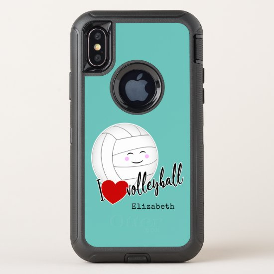 happy kawaii I love volleyball typography lt teal OtterBox Defender iPhone X Case