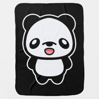 Happy Kawaii Panda Receiving Blanket
