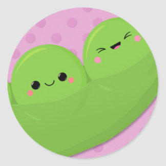 Happy Kawaii Peas on Spotted Background Classic Round Sticker