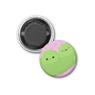 Happy Kawaii Peas on Spotted Background Magnet