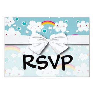 happy kawaii rainbow and cloud sky pattern card