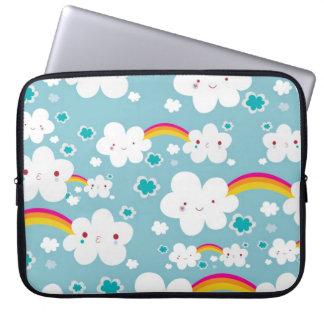 happy kawaii rainbow and cloud sky pattern computer sleeve