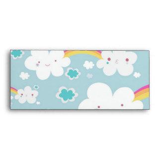 happy kawaii rainbow and cloud sky pattern envelope