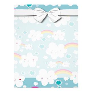 happy kawaii rainbow and cloud sky pattern flyer