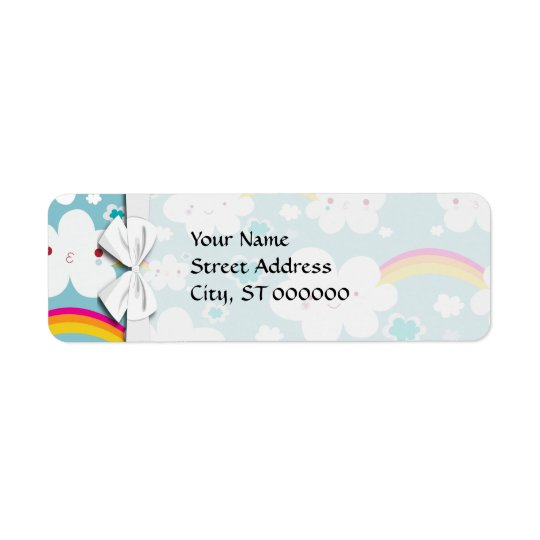 happy kawaii rainbow and cloud sky pattern label
