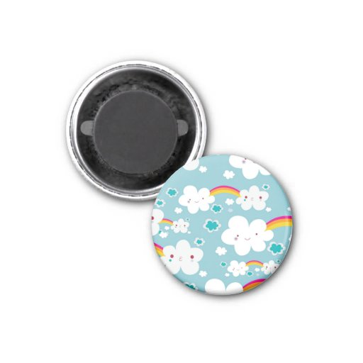 happy kawaii rainbow and cloud sky pattern 1 inch round magnet