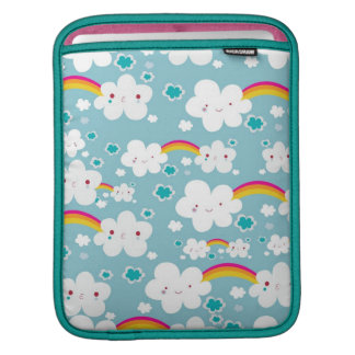happy kawaii rainbow and cloud sky pattern sleeve for iPads