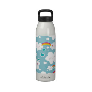 happy kawaii rainbow and cloud sky pattern drinking bottles