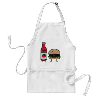 Happy Ketchup and Hamburger Adult Apron