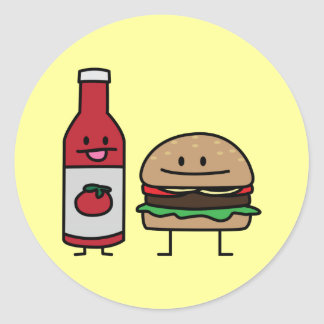 Happy Ketchup and Hamburger Classic Round Sticker