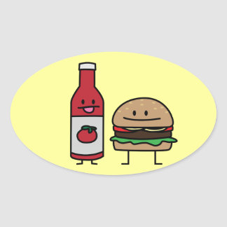 Happy Ketchup and Hamburger Oval Sticker