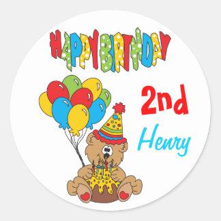 Happy Kids Birthday Bear Classic Round Sticker