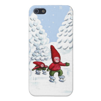 Happy kids ice skating Christmas Painting Case