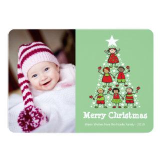 Happy Kids Merry Christmas Tree Holiday Photo Card