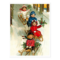Happy kids sledging on snow, vintage holiday postcard