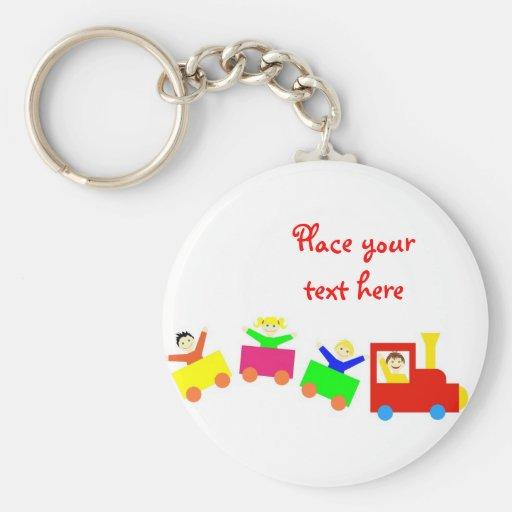 Happy Kids Train Basic Round Button Keychain