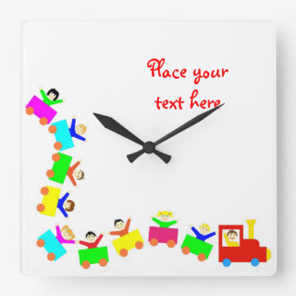 Happy Kids Train Square Wall Clock