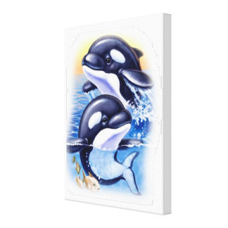 Happy Killer Whales Canvas Print