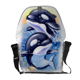 Happy Killer Whales Messenger Bag