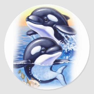 Happy Killer Whales Round Stickers