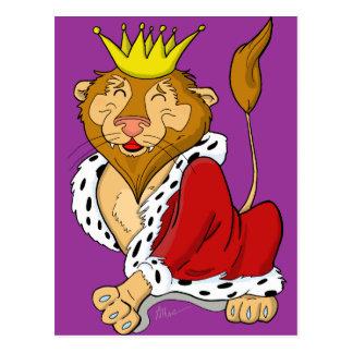 Happy King Lion Cartoon Postcard