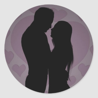 Happy Kissing Couple Classic Round Sticker