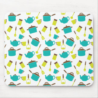 Happy Kitchen Pots Pans and Utensils Mouse Pad