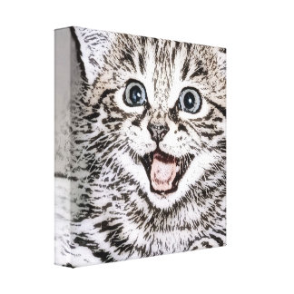 Happy Kitten Photocopy Effects Canvas Print