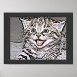 Happy Kitten Photocopy Effects Print