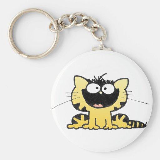 Happy-Kitty Basic Round Button Keychain