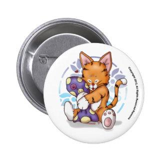 Happy Kitty Cuddling Dolly Button