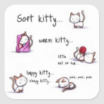happy kitty square stickers