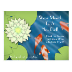 Happy Koi Moving Announcement Postcard at Zazzle
