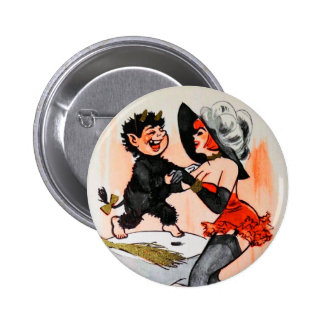 Happy Krampus with Temptress Vintage Christmas Button