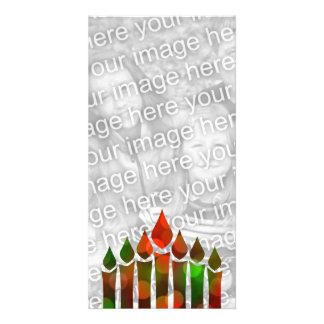 Happy Kwanzaa Bokeh Kinara Card